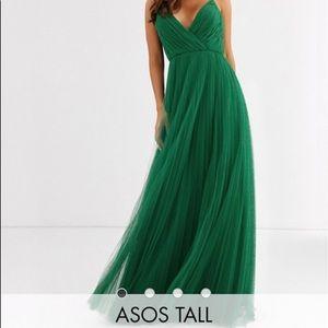 ASOS DESIGN Tall cami pleated tulle maxi dress